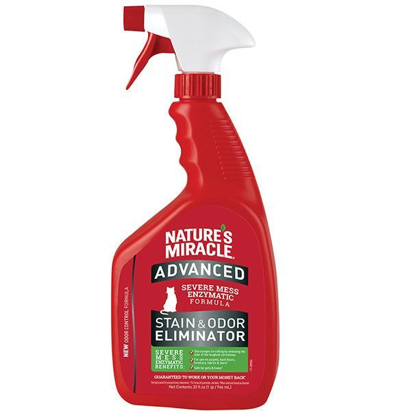 Знищувач плям і запахів для кішок 946 мл спрей з посиленою формулою 8in1 лимон Nature's Miracle