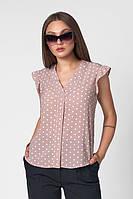 Блуза бежевого цвета в горошек. Модель 466. Размеры 42-50