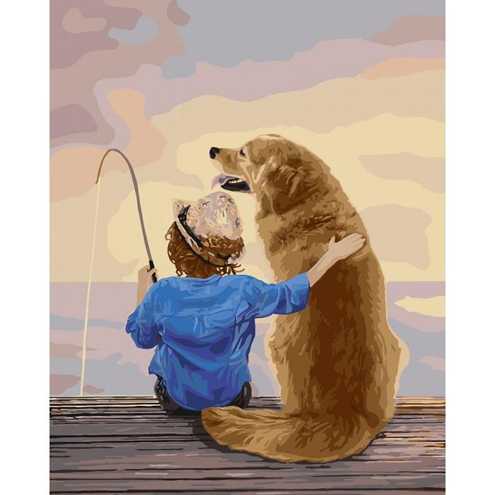 Картины по номерам На рыбалке 40*50 КОРОБКА арт. КН2341