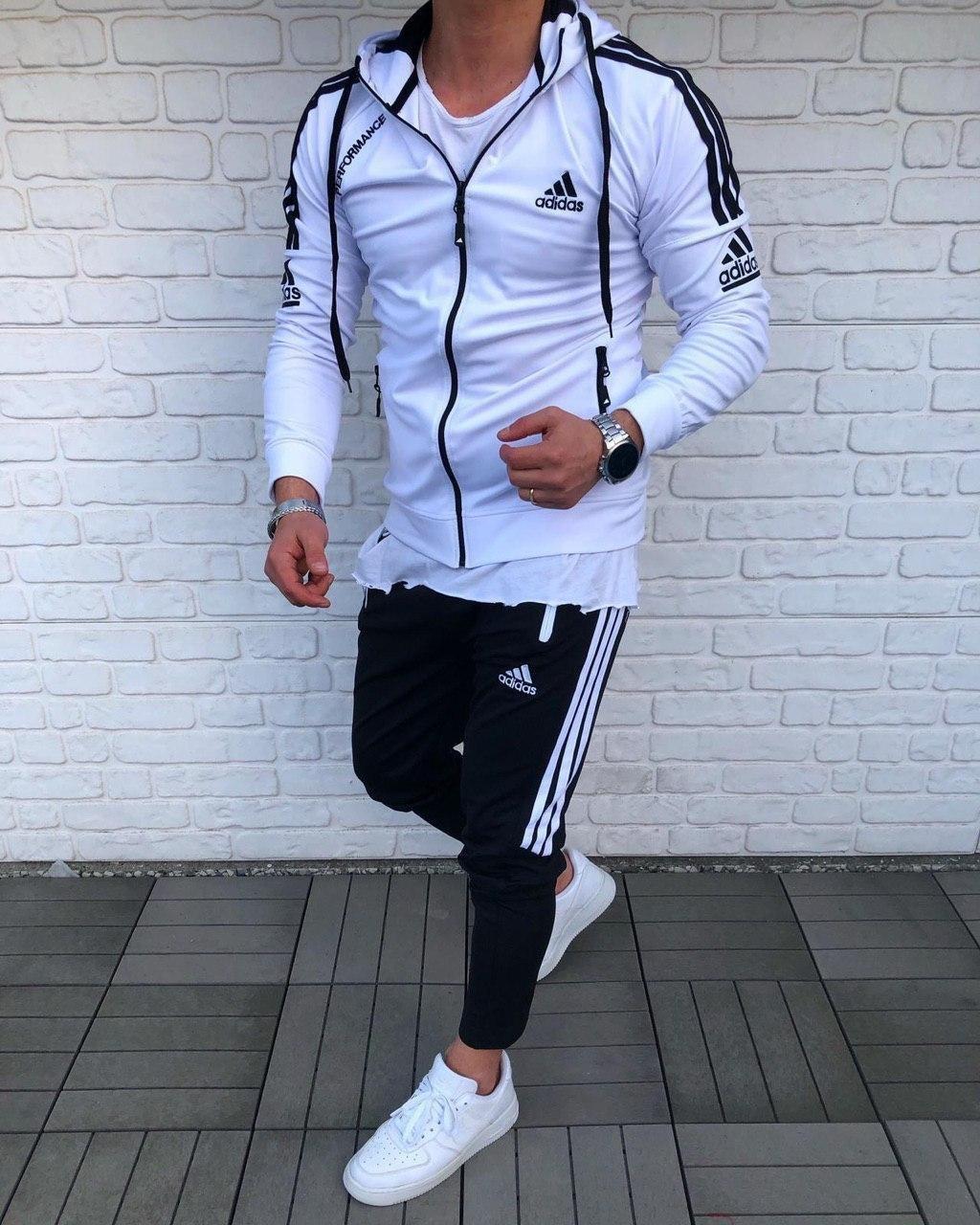 Мужской спортивный костюм Adidas Performance white/black (реплика)