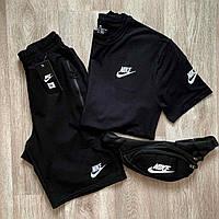 Спортивный мужской костюм летний в стиле Nike. Комплект шорты + футболка лето Найк. Мужская футболка + БАНАНКА
