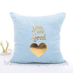 """Декоративная подушка велюровая с золотистыми элементами """"You are loved"""" голубого цвета"""