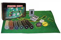 Покерный набор c номиналом на 300 фишек в жестяной коробке