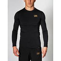 Спортивный рашгард с длинным рукавом лонгслив Leone черный, компрессионная одежда для бега и спорта