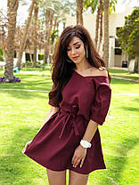 Легке літнє плаття міні з поясом, фото 3