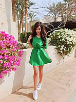 Легке літнє плаття міні з поясом, фото 2