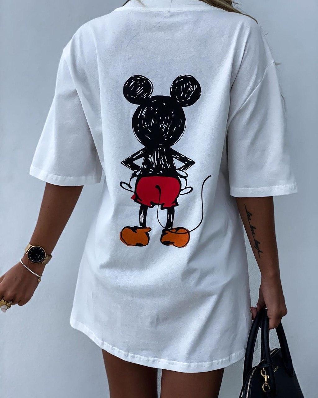 Летнее платье футболка свободное с микки маусом белое и черное