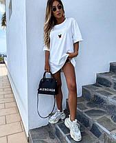 Летнее платье футболка свободное с микки маусом белое и черное, фото 2