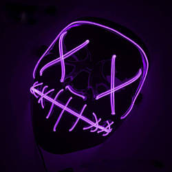 Неоновая маска Purge Mask Судная ночь Фиолетовая