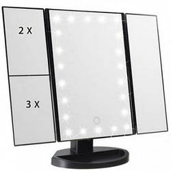 Зеркало с подсветкой 22 LED SuperStar mirror с боковыми зеркалам Black