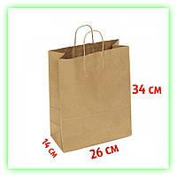 Бумажный подарочный Крафт пакет с ручками 260х140х340 - Коричневый (25шт в уп.)