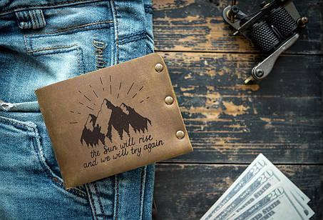 Мужской кожаный кошелек ТатуНаКоже, рассвет, фото 2