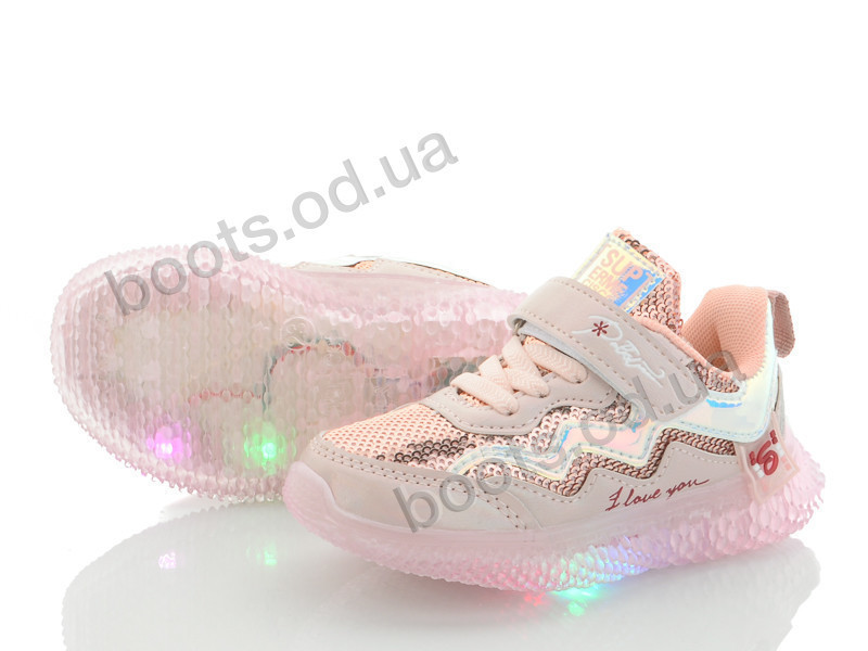 """Кроссовки  детские """"Beesky-Kellaifeng"""" #B9786-3A LED. р-р 22-27. Цвет розовый. Оптом"""