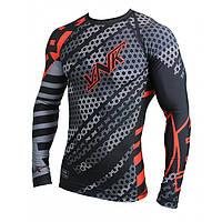 Спортивный рашгард с длинным рукавом лонгслив VNK Contact, компрессионная одежда для бега и спорта