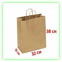 Бумажный подарочный Крафт пакет с ручками 320х150х380 - коричневый (25шт в уп.)