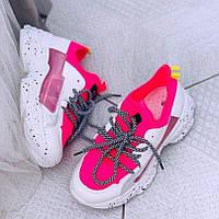 Модные розовые кроссовки на толстой подошве, фото 1