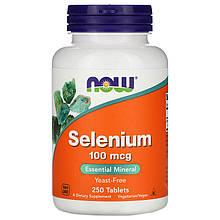"""Селен NOW Foods """"Selenium"""" без дрожжей, 100 мкг (250 таблеток)"""