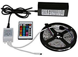Светодиодная лента SMD 5050 RGB 5м + пульт + блок