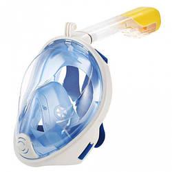 Полнолицевая панорамная маска для плавания Free Breath (S/M) Голубая с креплением для камеры