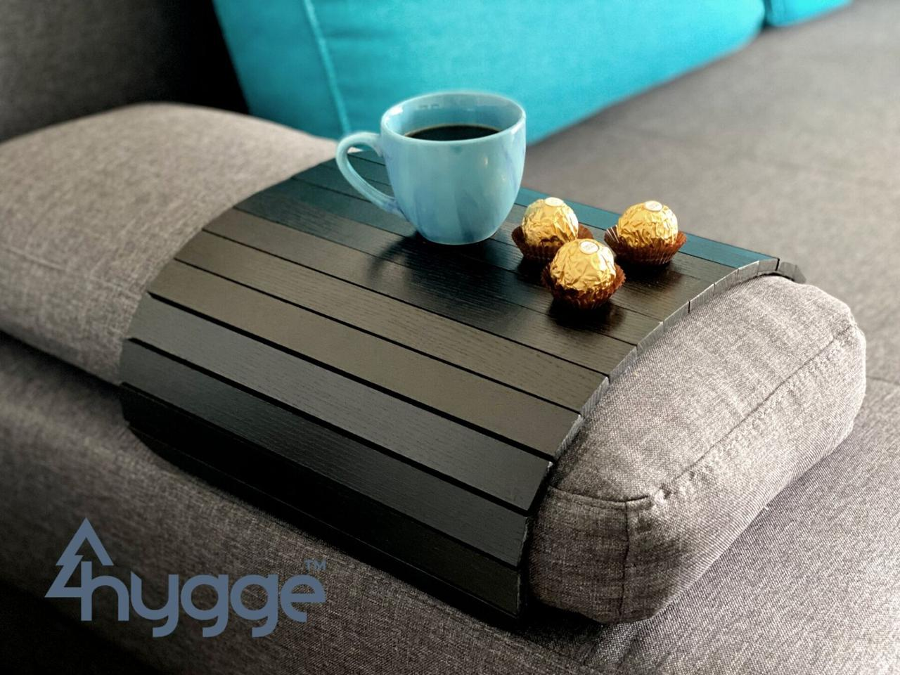 Деревянный столик-накладка на диван для завтрака норвежский бренд Hygge™ черный деревянные столики-коврики