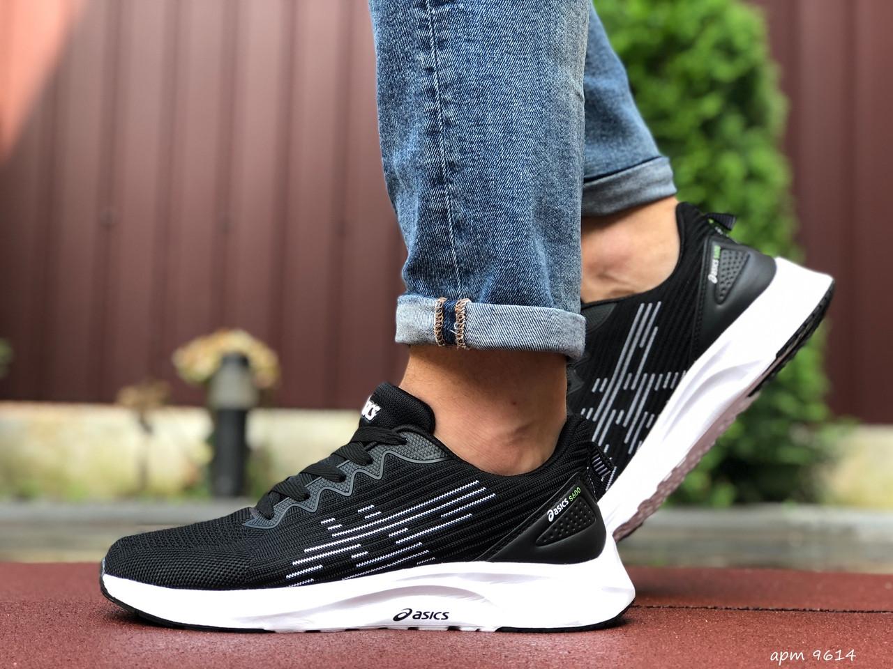 Мужские кроссовки текстильные черные с белым демисезонные подошва пена
