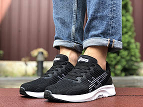 Мужские кроссовки текстильные черные с белым демисезонные подошва пена, фото 3