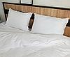 """Постельное белье """"Элит"""" с простыней на резинке двуспальное евро 200х220 белый страйп-сатин люкс (14791) - Фото"""