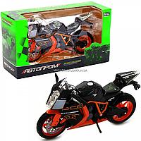 Мотоцикл Автопром Черно-оранжевый, 16х5х10 см (7750), фото 1