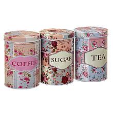 """Набор из 3-х жестяных банок """"Чай, кофе и сахар"""" 14,5 см 18113-004 баночки для специй банки для круп"""
