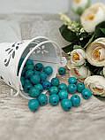 Бірюзові бусіни з дерева, діаметр 1,3 см, 50 шт/уп 15 грн, фото 5