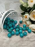 Бірюзові бусіни з дерева, діаметр 1,3 см, 50 шт/уп 15 грн, фото 3