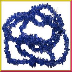 Сколы Кварц Синий, Крошка Кубиками, Размер 4-6*4-6 мм, Около 85 см нить, Бусины Натуральный Камень, Рукоделие