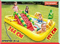 Детский надувной игровой центр бассейн с горкой 244х191х91 Фрукты INTEX 57158