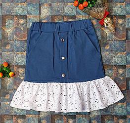 Джинсовая юбка для девочки на рост 128,134,140,146 синий с белым воланом