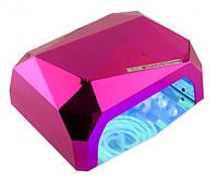 УФ/LED-CCFL лампа для сушки гель-лаков YRE Diamond 36 Вт (малиновая)