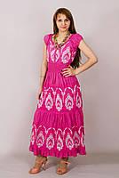 Платье  летнее, женское макси с вышивкой. Хлопок прошва. Индия. Розовый 50-52 р.(L р)