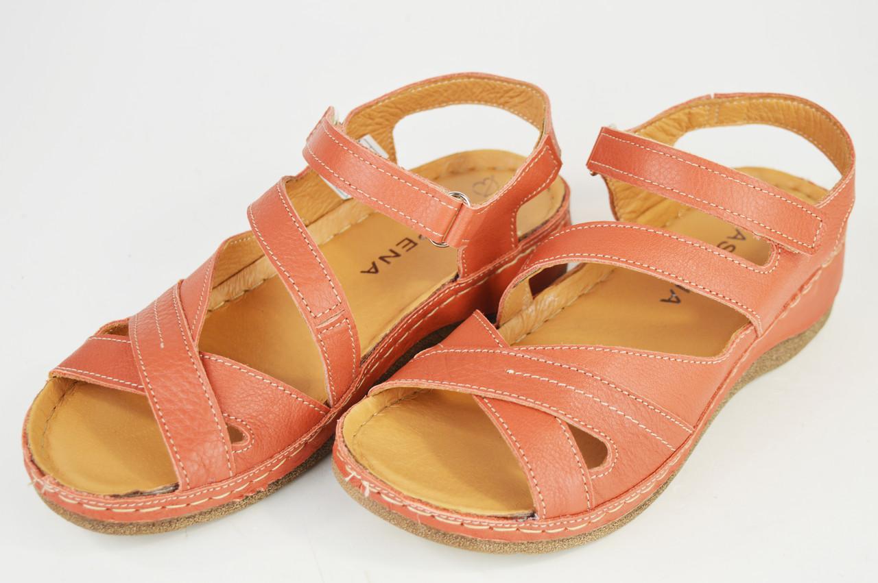 Босоножки кирпичные кожаные Aspena 125 36-40 размер