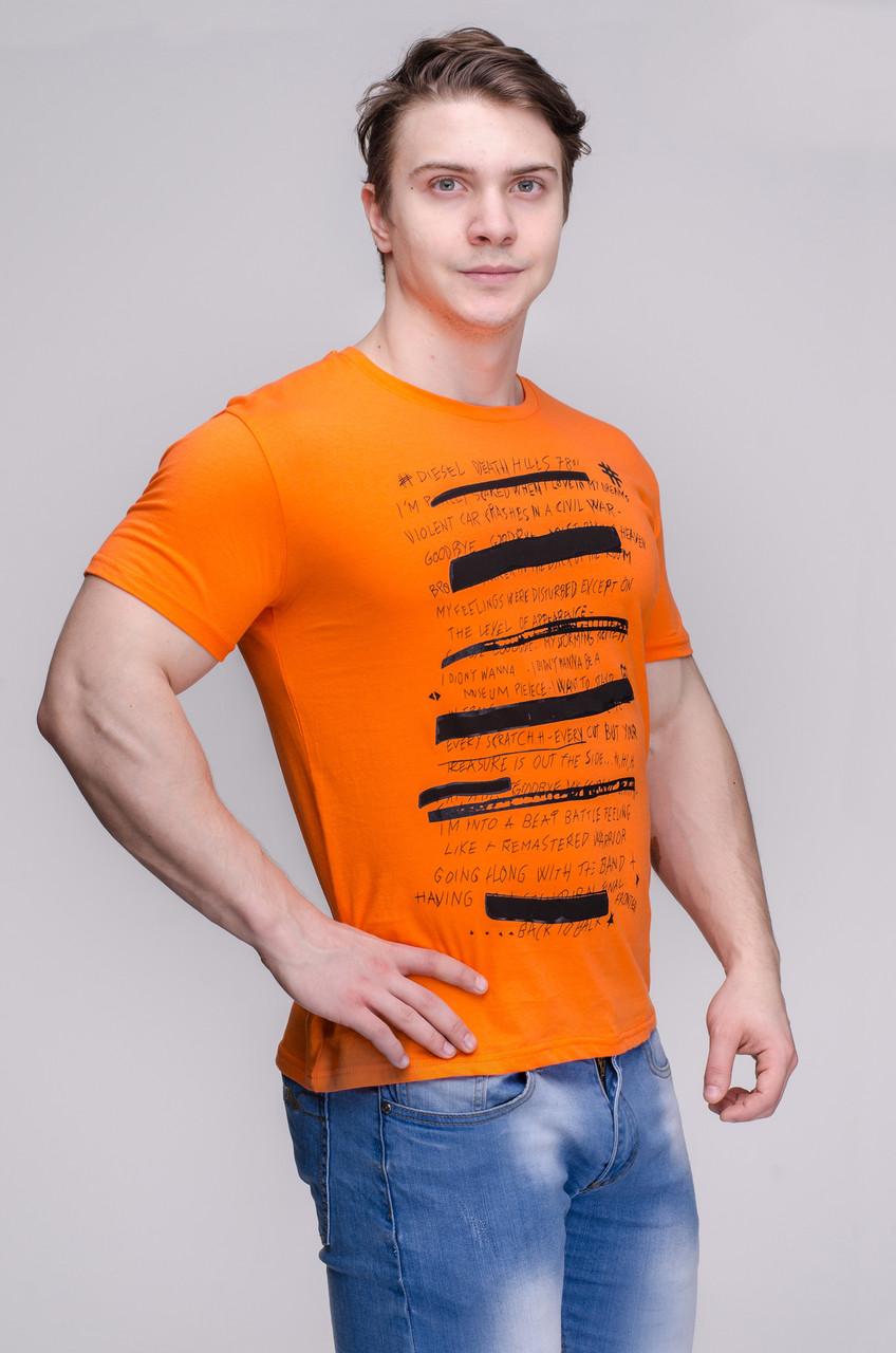 Футболка мужская оранжевая Avecs AV-30091 Размеры S/46 M/48 L/50 XL/52