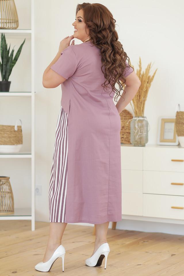 Льняное батальное платье в полоску