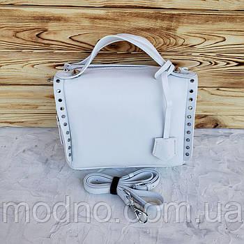 Жіноча шкіряна сумка через плече Polina & Eiterou Білий