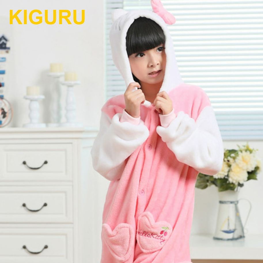 Детская теплая пижама кигуруми Hello Kitty