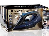 Електричний Паровий Праска з Керамічним Покриттям Прасувальний 2400 Ватт Sokany SK-6028, фото 2