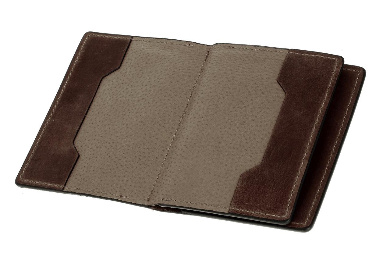 Обложка для документов, паспорта, автодокументов с отделом для карт, коричневый (матовая)