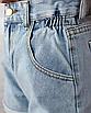 Шорты женские джинсовые короткие мини с подворотом голубые деним классические, фото 5