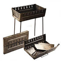 Мангал-чемодан на 10 шампуров УК-М10 57*27*5см (высота ножки 55см) (УК-М10)