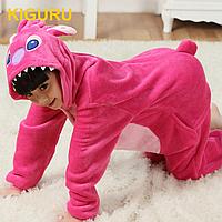 Детская кигуруми пижама розовый стич