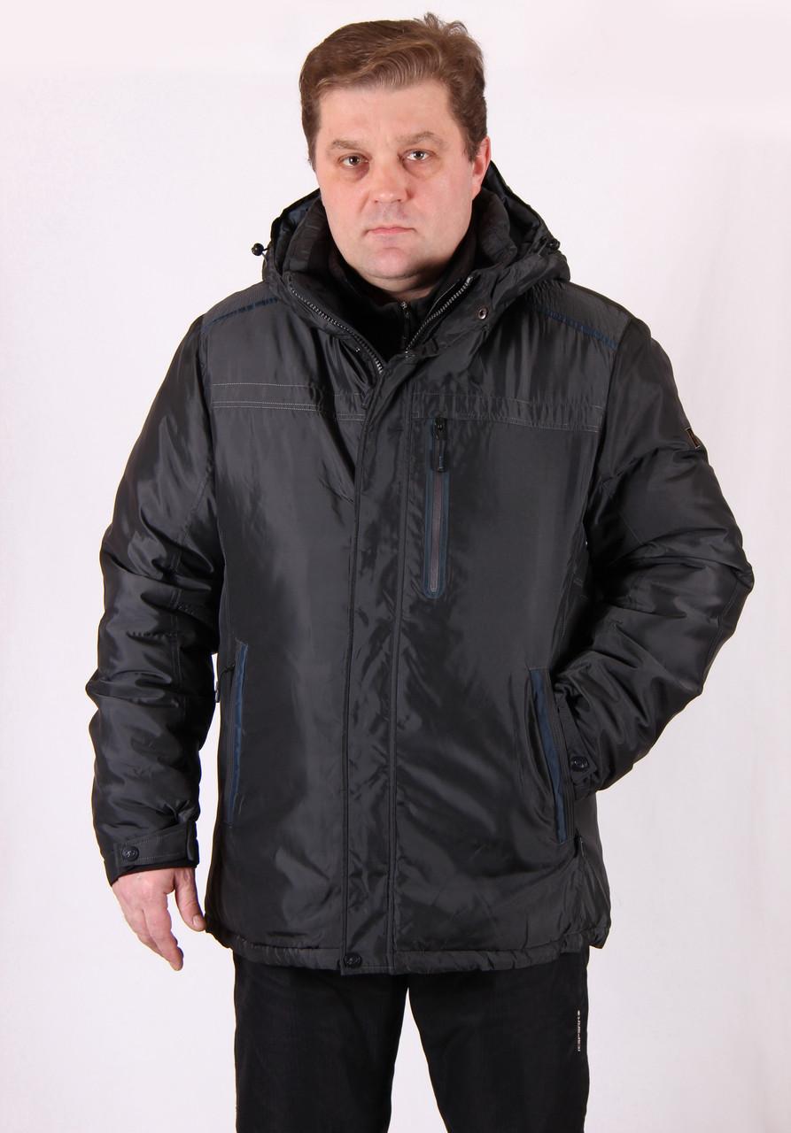 Куртка мужская зимняя серая Avecs AV7342693B баталы Размеры 60 62