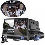 Автомобильный Видеорегистратор с 3 камерами Car DVR WDR Full HD 1080P, фото 8