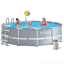 Басейн каркасний Intex 26718 (366*122 см) картріджний фільтр-насос 3785л/год, сходи