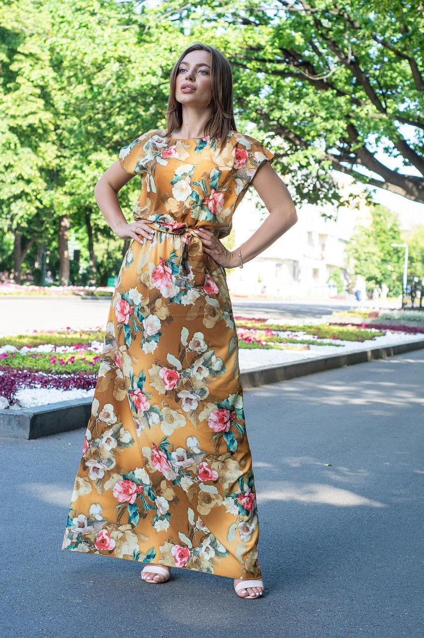 Нарядное летнее платье в пол, принт: цветы на горчичном 42-46 и 48-52